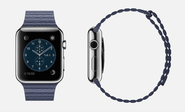 apple-watch-bright-blue-leather-band-magnetic-closure-stainless-steel-retina-display