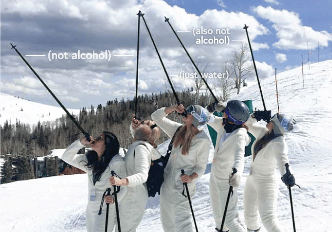 innovation baton de ski alcool liquide boire
