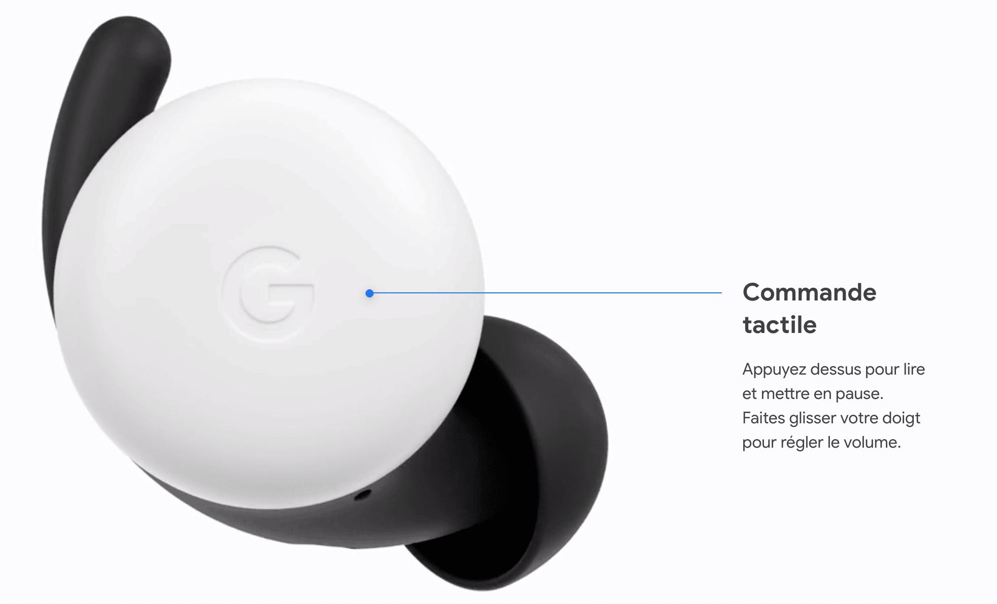 utilisation commande tactile pixel buds 2020