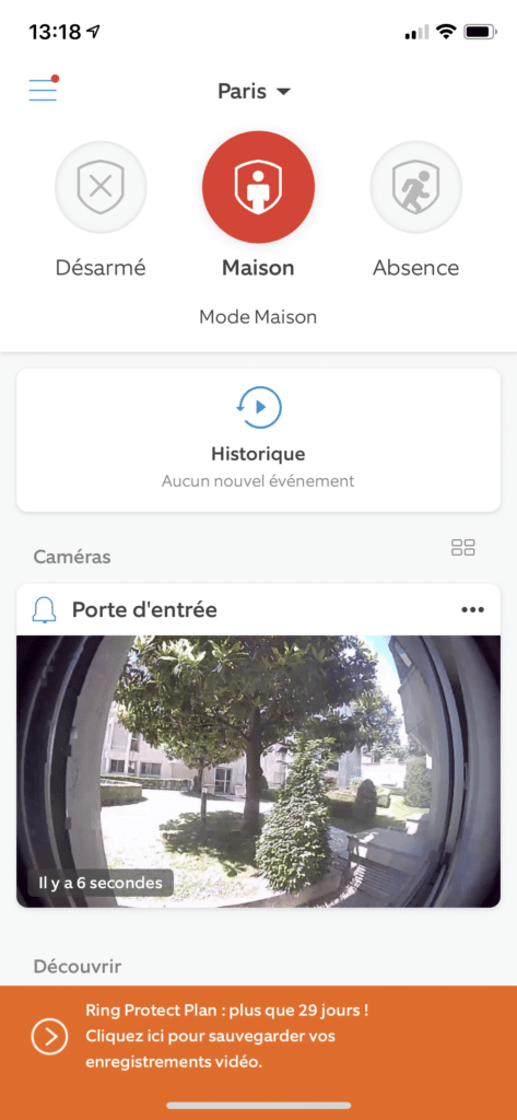 Application Ring page d'accueil avec modes