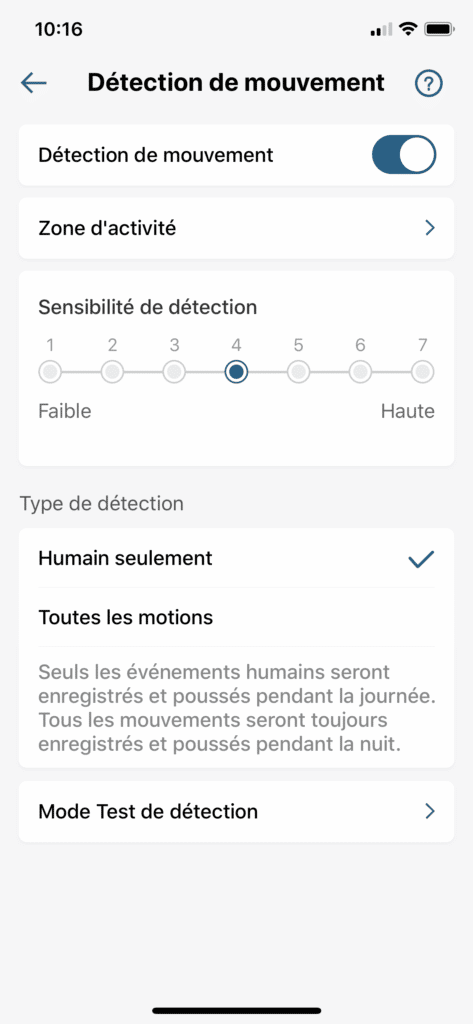 Application detection de mouvement reglable