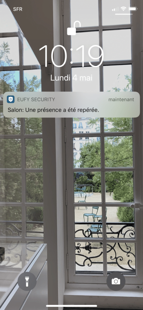 Application eufy Security notifications mouvement