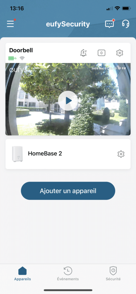 Application eufy Security page d'accueil sonnette et base