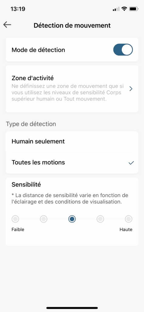 Detection de mouvement eufy Security parametres