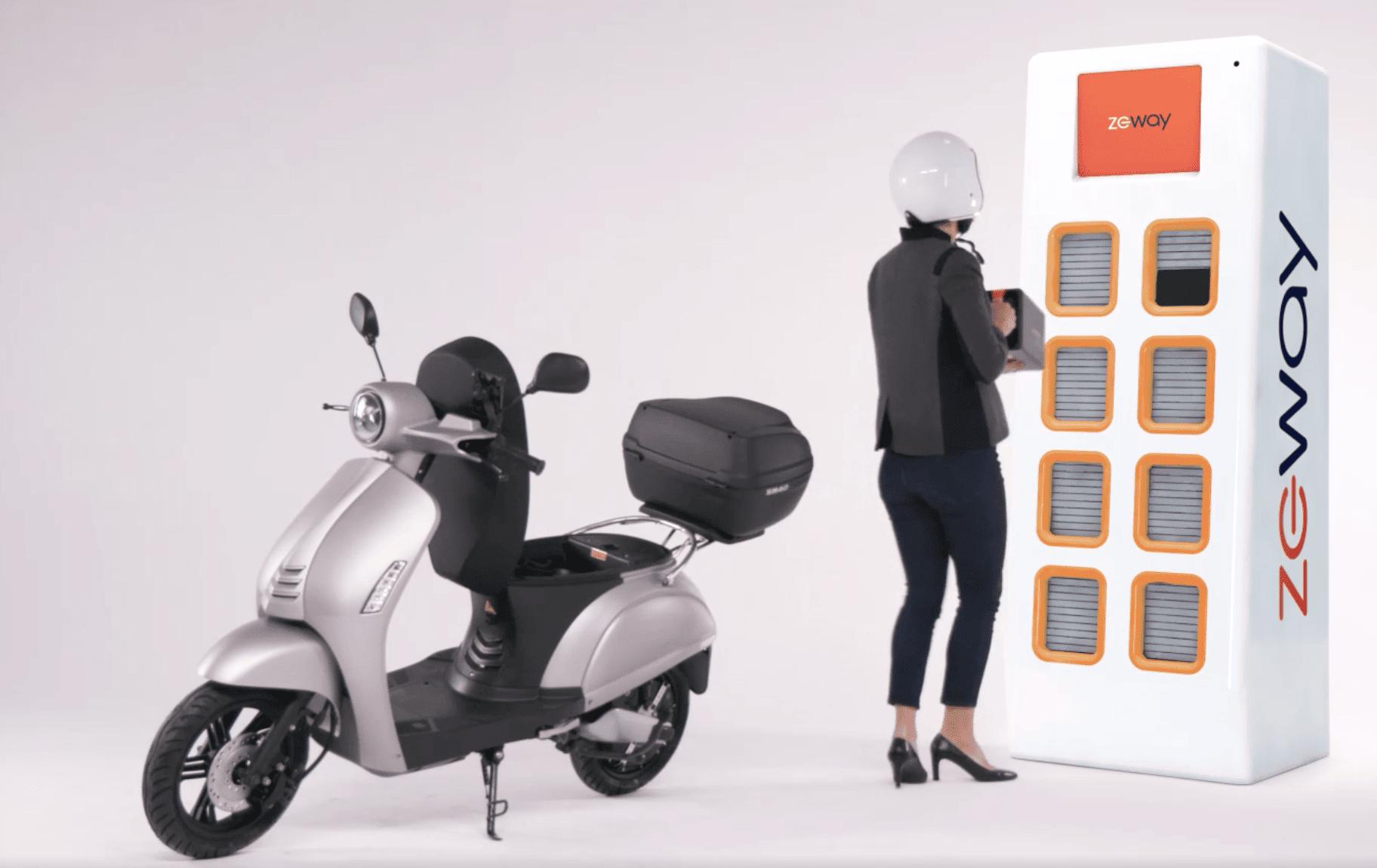 scooter zeway borne femme recharge