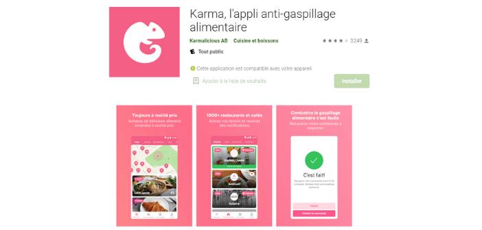 Appli anti-gaspillage alimentaire Karma