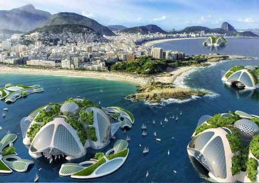 Design possible de maisons flottantes dans un avenir indéterminé