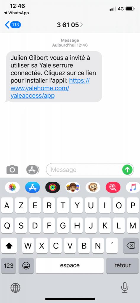 Sms invitation utilisateur