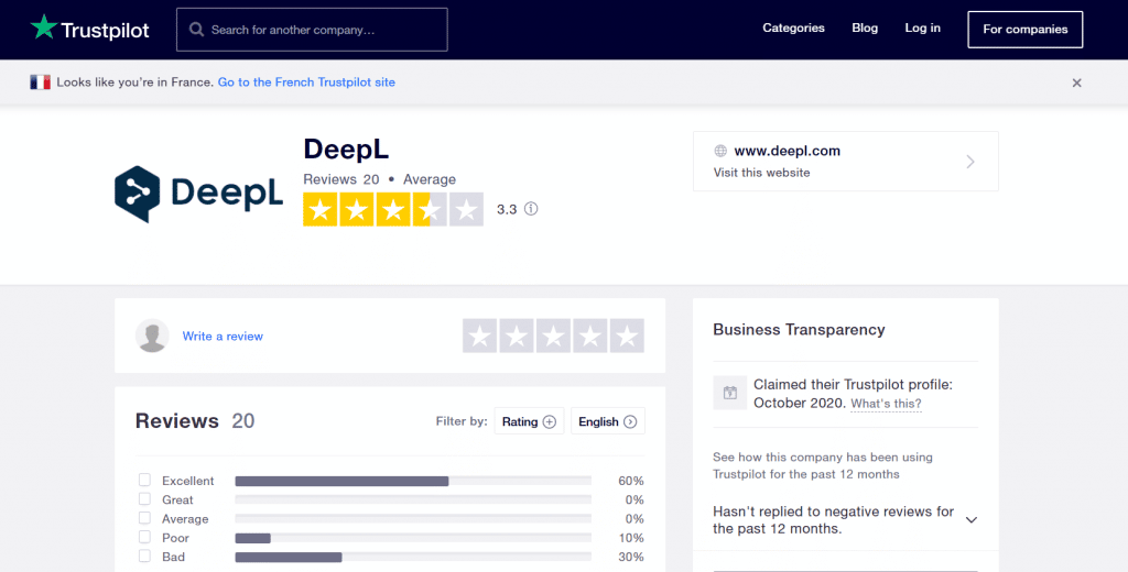 DeepL Traduction Avis trustpilot