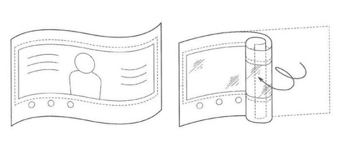 Schéma brevet sony smartphone enroulable