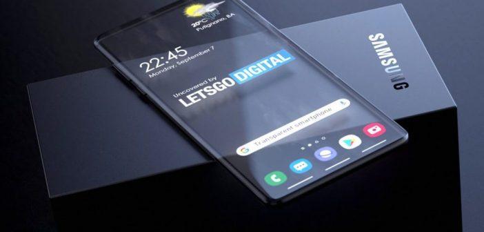 Concept 3D brevet Samsung smartphone transparent
