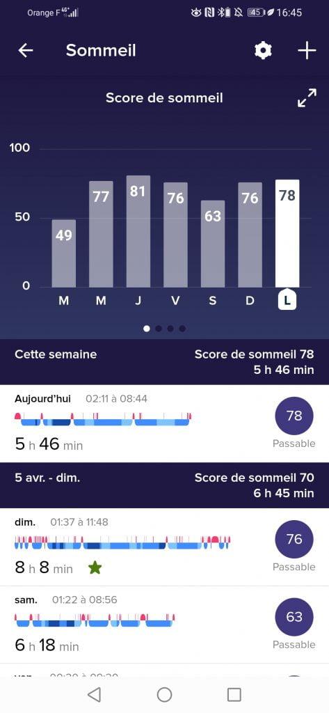 Fitbit montre connectée score sommeil