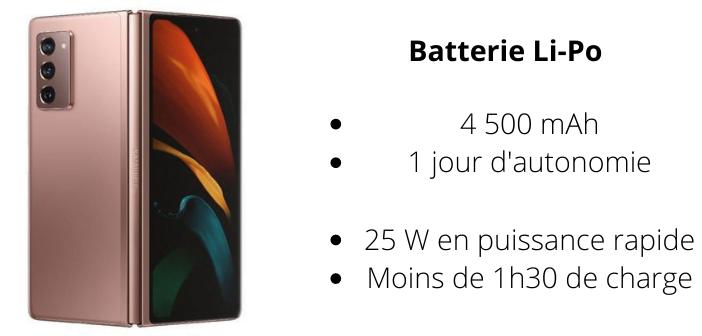 La batterie du Galaxy Z Fold 2 permet de tenir une journée aisément.