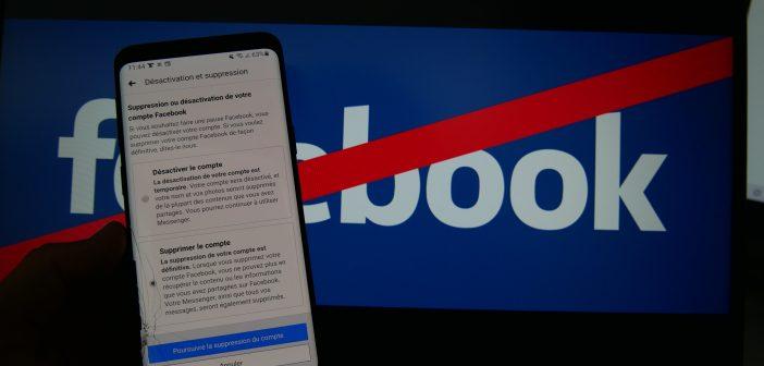 choisir entre désactivation et suppression de Facebook