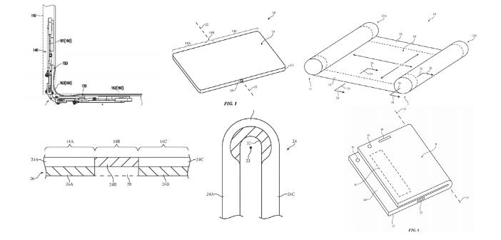 différentes images issues des brevets déposés par Apple à propos d'appareils avec écran pliable