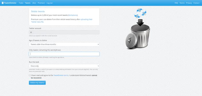 site DeleteTweet pour supprimer ses tweets