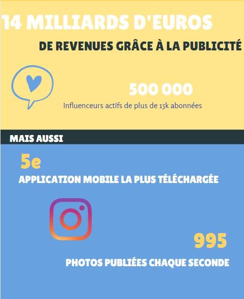 Cette infographie permet de retrouver de manière simple les principaux chiffres sur instagram.