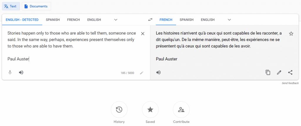 Historique Google Trad