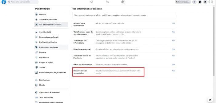 comment désactiver compte facebook