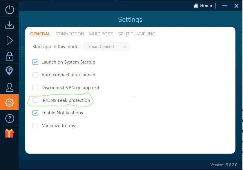 Settings Ivacy VPN General