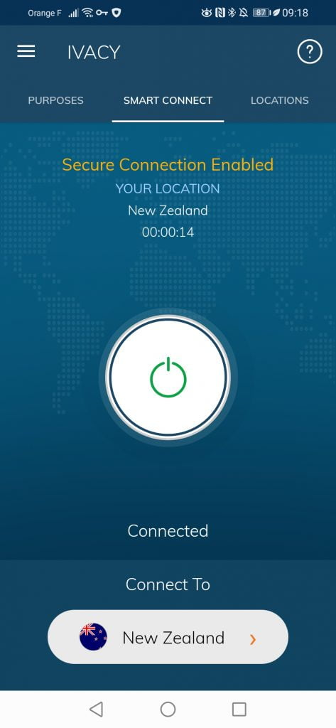 Interface Ivacy VPN application mobile