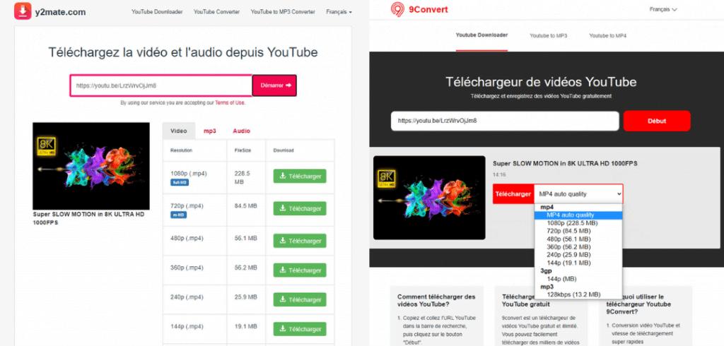 site de téléchargement de vidéo YouTube : y2mate et 9convert