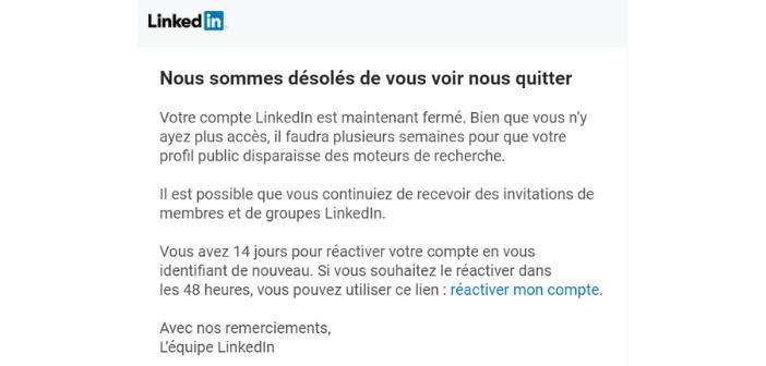 Mail de confirmation de suppression du compte LinkedIn