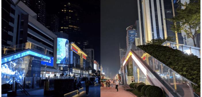 comparaison entre deux photo, une prise par le google pixel 3 sans mode nuit et l'autre avec