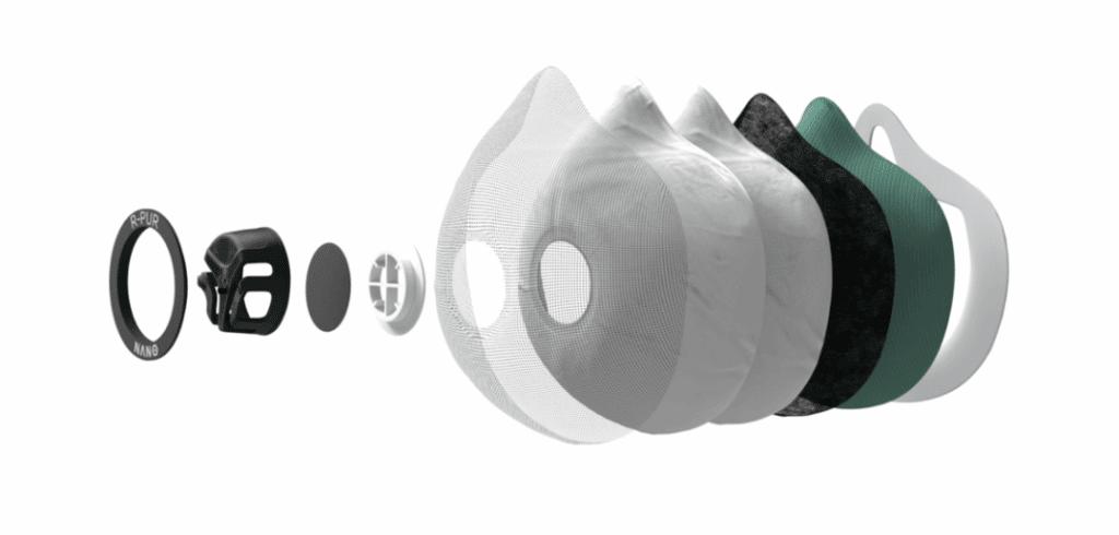 Les différentes couches des filtres du masque r-pur nano light