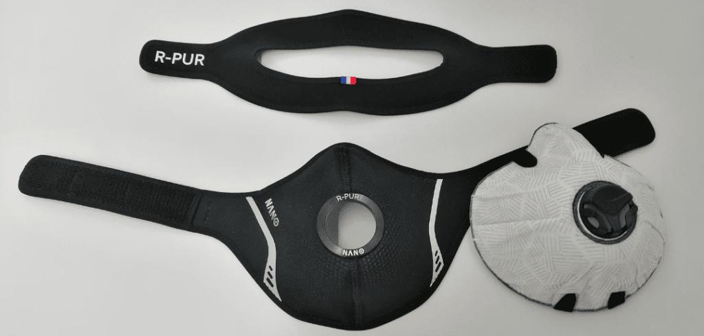 masque r-pur nano sport séparé de son filtre avec son attache en deux parties