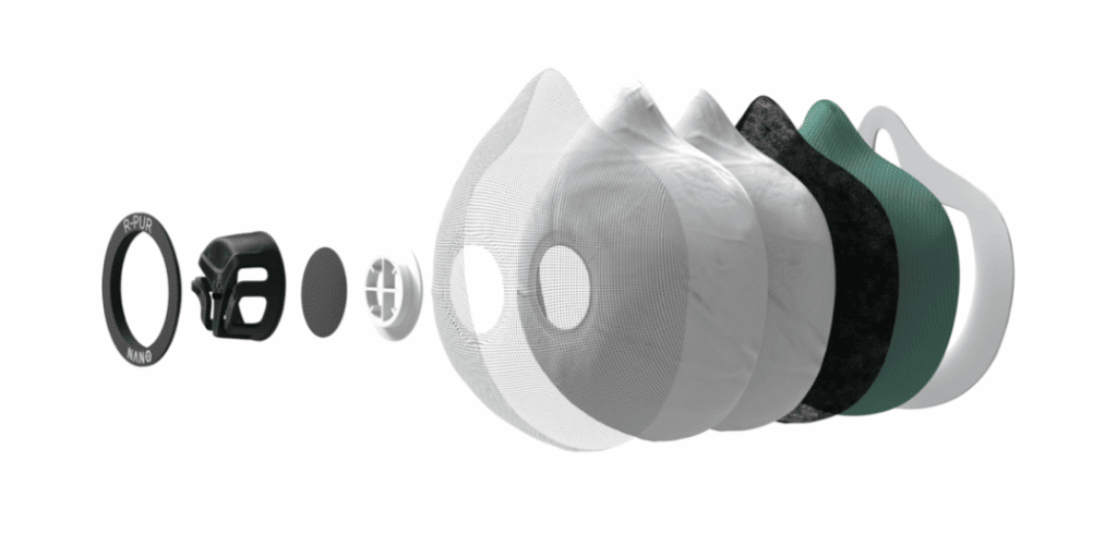 Les différentes couches des filtres du masque r-pur nano sport