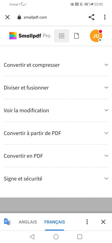 interface application mobile