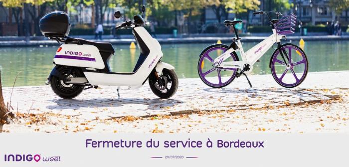 Indigo weel fermeture offre scooter bordeaux