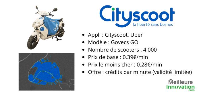 récap cityscoot caractéristiques scooter électrique