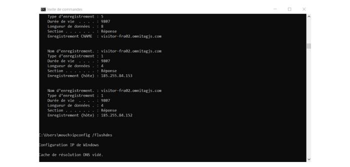 vider le cache de résolution DNS