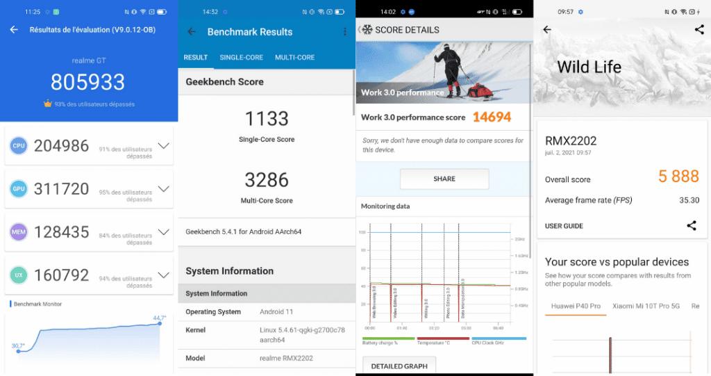 captures d'écrans des résultats de benchmark pour le realme gt 5g