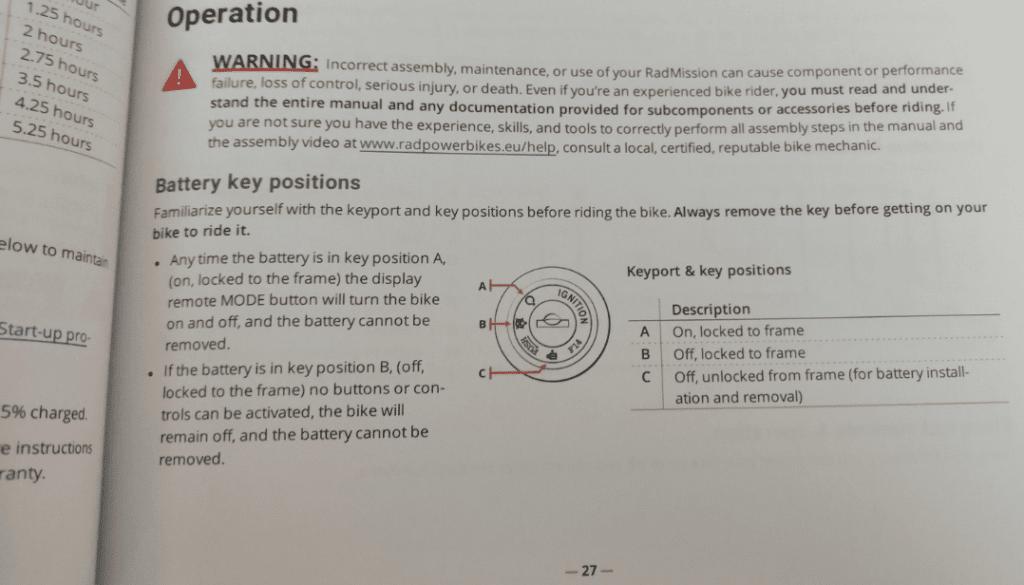 photo du manuel du vélo électrique radmission
