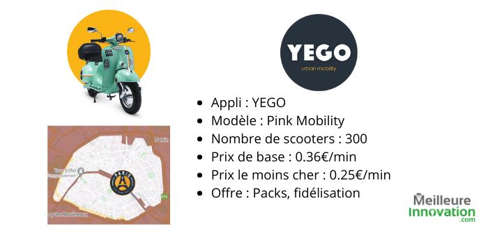 Yego spécification offre location scooter électrique