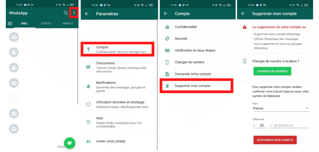 captures d'écran de l'application whatsapp pour supprimer son compte