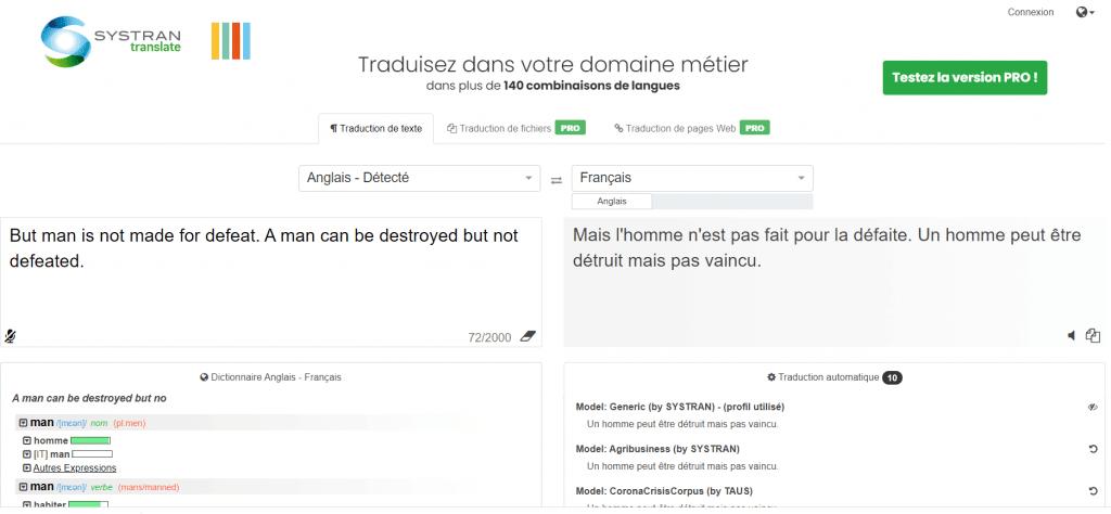 Systran meilleur portail de traduction