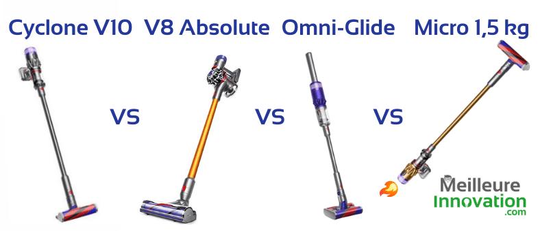 Dyson Cyclone V10 vs V8 Absolute Omni-Glide vs Micro 1,5 : lequel choisir ?