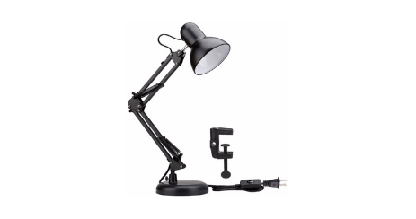 Lighting EVER Lampe de Bureau Industrielle Socle Solide orientable