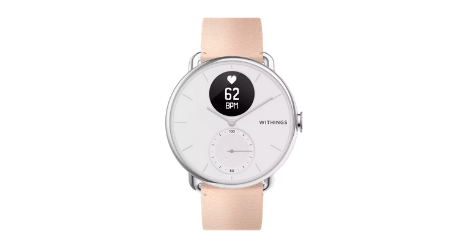 montre femme connectee withings scanwatch rose cuir